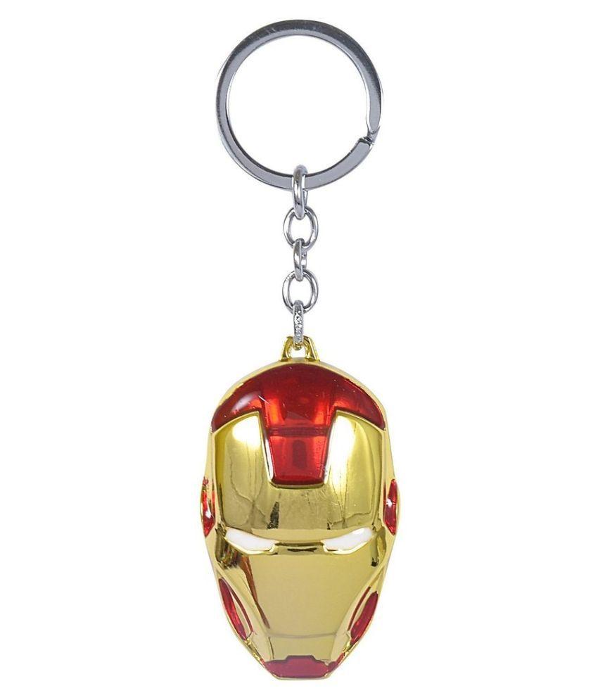 GCT Iron Man Marvel Avengers Superhero Metal Keychain  - Golden & Red & White