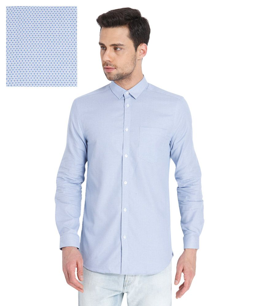 Jack & Jones Blue Slim Fit Prints Full Sleeves Shirt