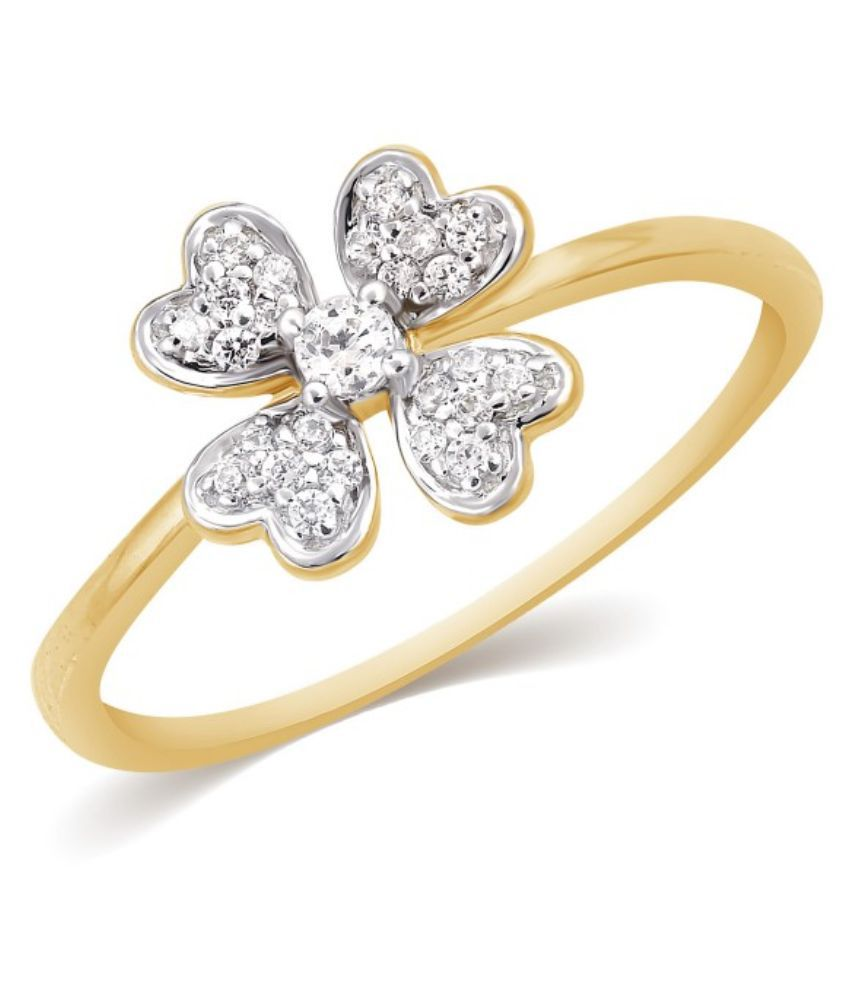 Kama Jewellery BIS Hallmarked 18Kt Yellow Gold Diamond Ring
