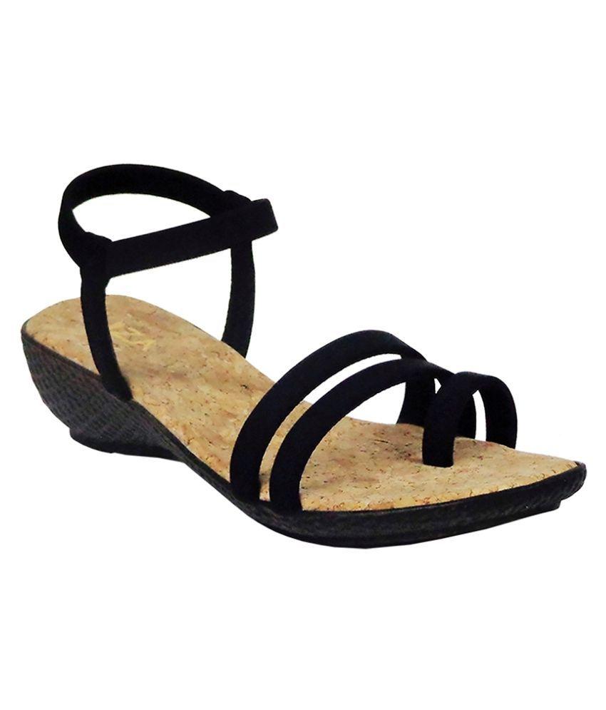 Liza Black Wedges Heels