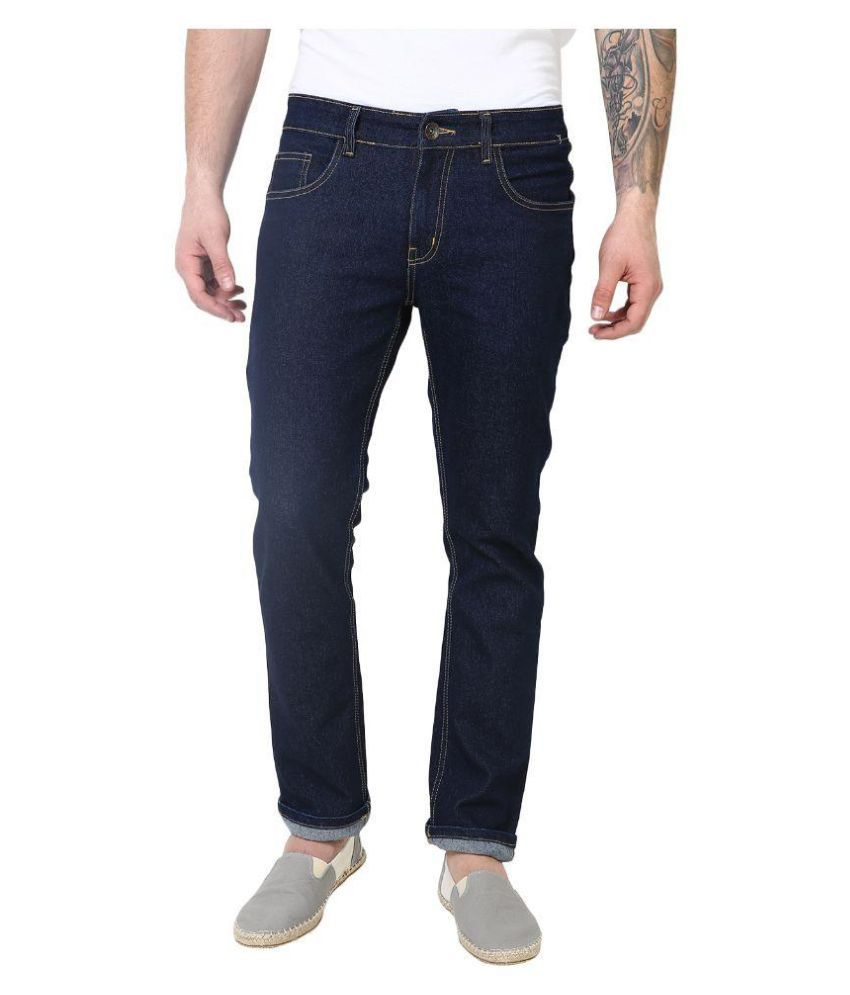 SuperX Navy Slim Fit Solid Jeans