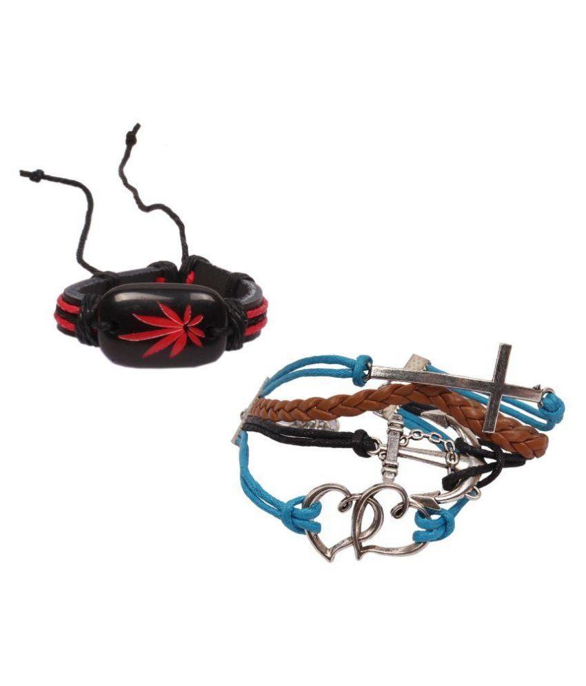 Sushito Leather Studded Multi Coloured Bracelet