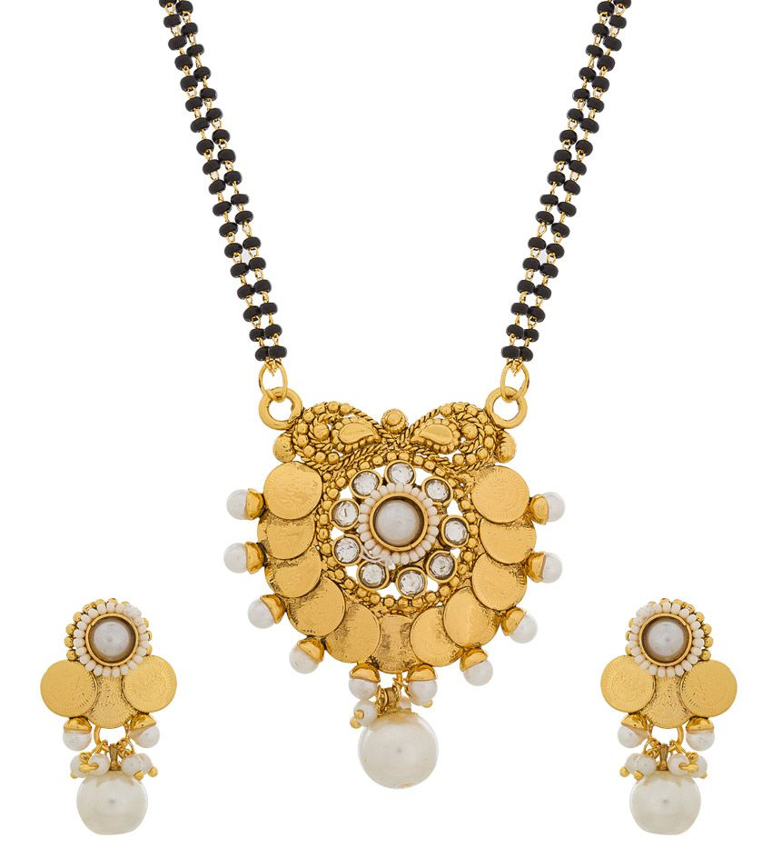 The Luxor Alloy Gold Plating Stones Studded Gold Coloured Mangalsutra Set