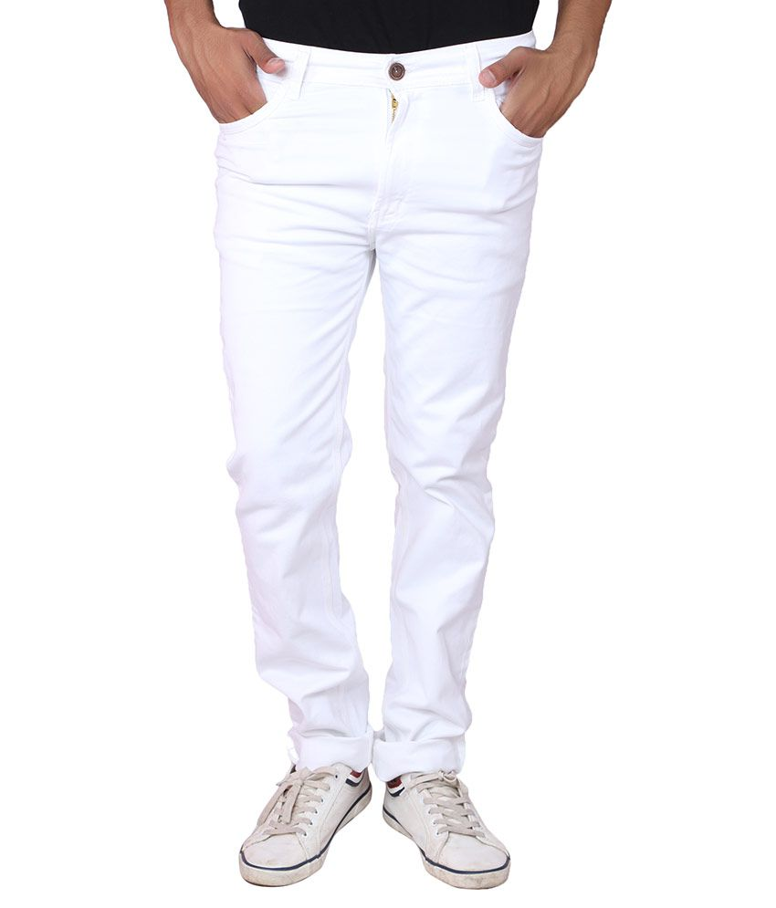 X20 Jeans White Regular Fit Solid Jeans