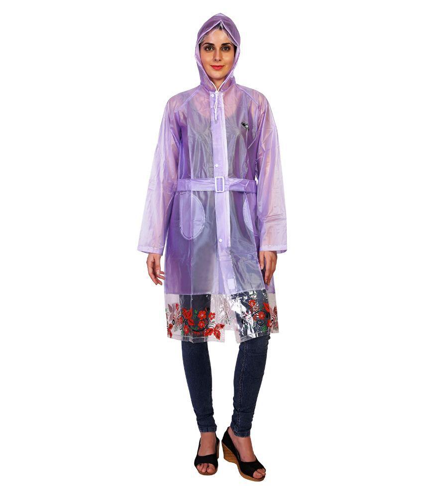 Zeel Purple Waterproof Long Raincoat