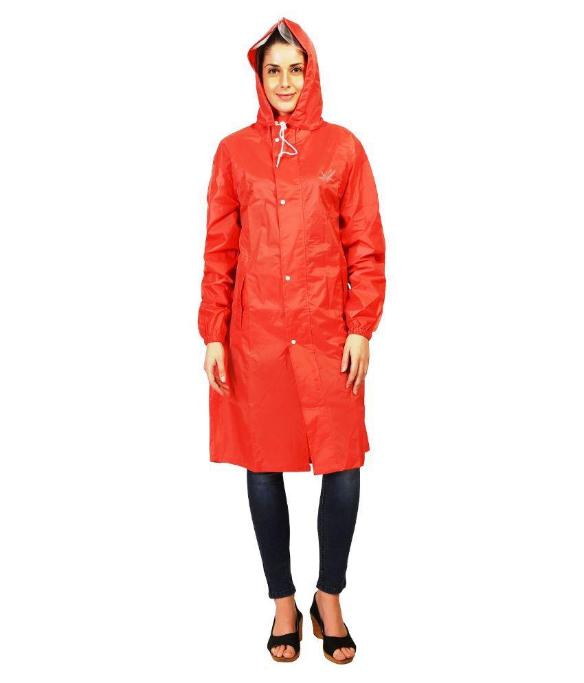 Zeel Red Waterproof Long Raincoat