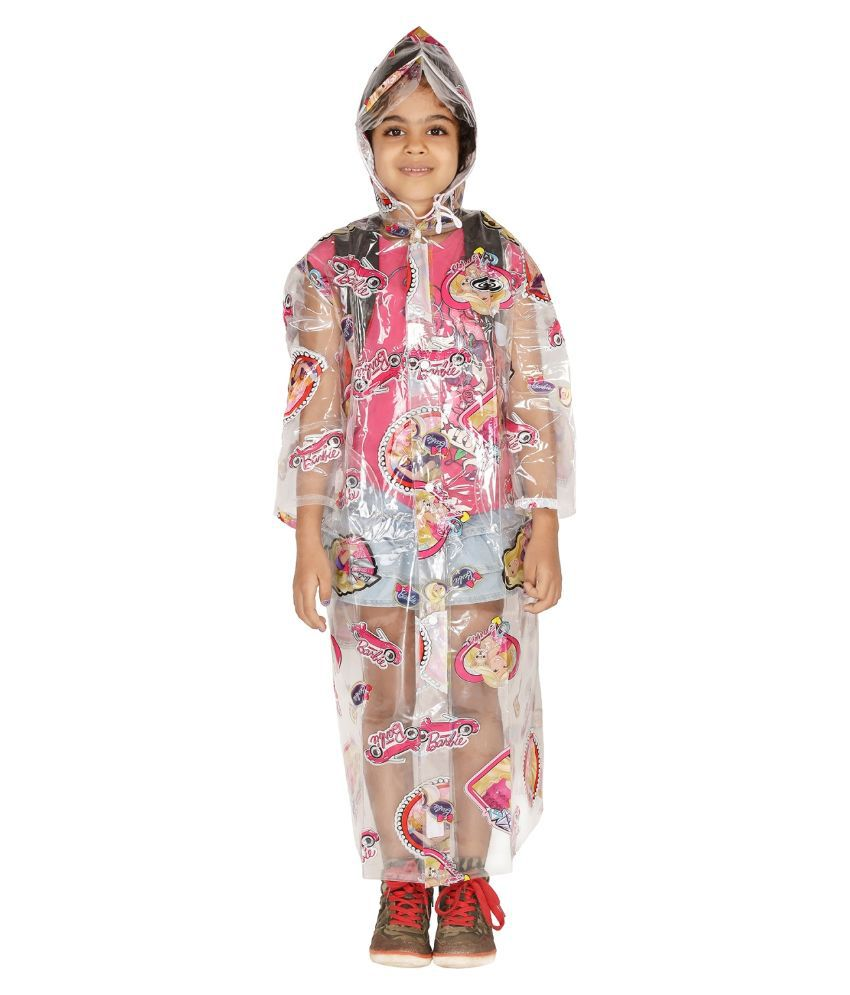 Zeel Transparent Printed Long Raincoat for Girls