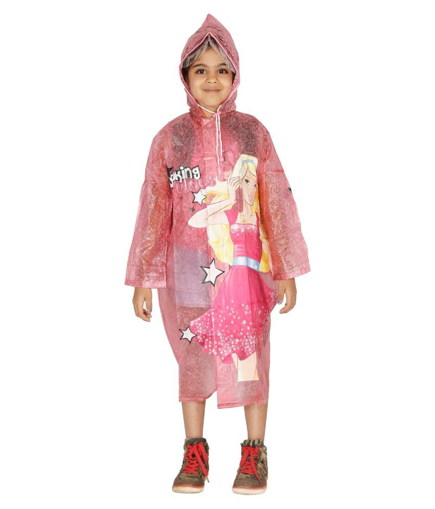 Zeel Pink Viscose Raincoat for Girls