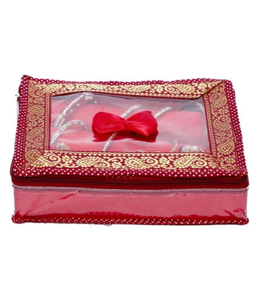 Kuber Industries Maroon Fabric 3 Rod Brocade Bangle box