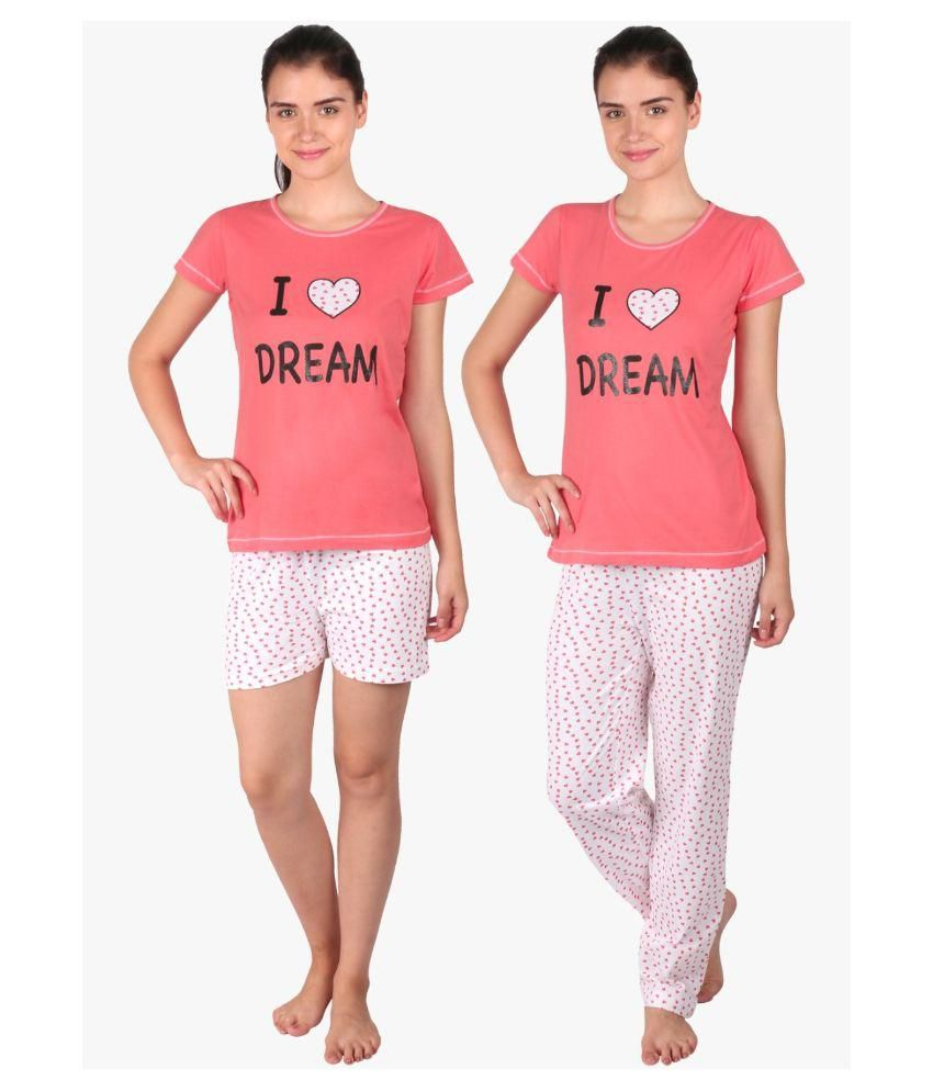 e3522456db Buy Lazy Dazy Pink Cotton Nightsuit Sets with Shorts Online at Best Prices  in India - Snapdeal