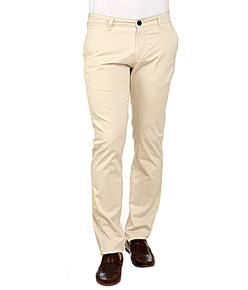 Red Tape Beige Slim Fit Trousers