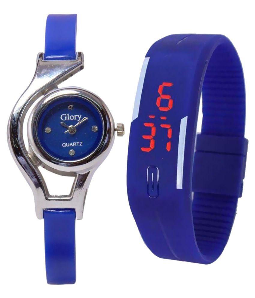 Glory Blue Analog-Digital Couple Watches