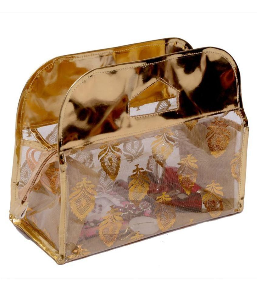 Kuber Industries Fabric Studded Beige Coloured Jewellery Box