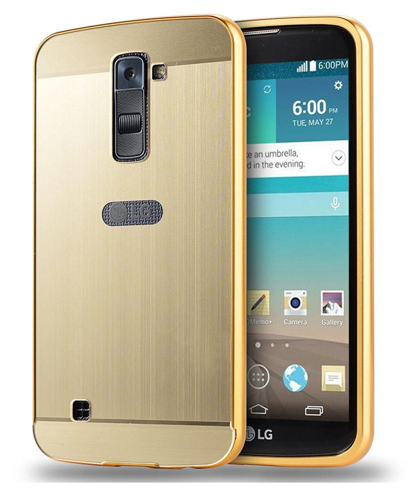 cheap for discount c3aa9 8ceca Johra Aluminum Metal Frame Bumper Mirror Acrylic Back Case For LG K10 (Gold)