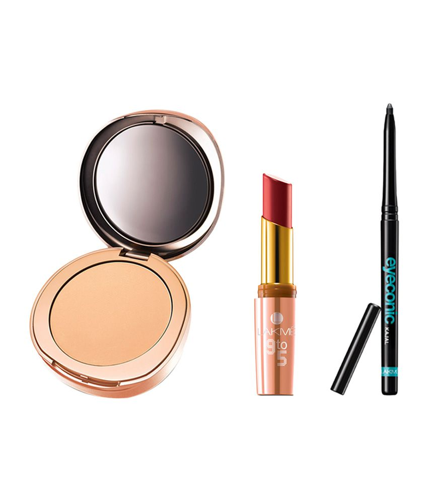 Lakme Makeup Kit--Lakme Eyeconic Black Kajal, Matte Complexion Compact Melon 8 g & Matte Lipstick Blush Work MP10 3.6 g : Buy Lakme Makeup Kit-- Lakme ...