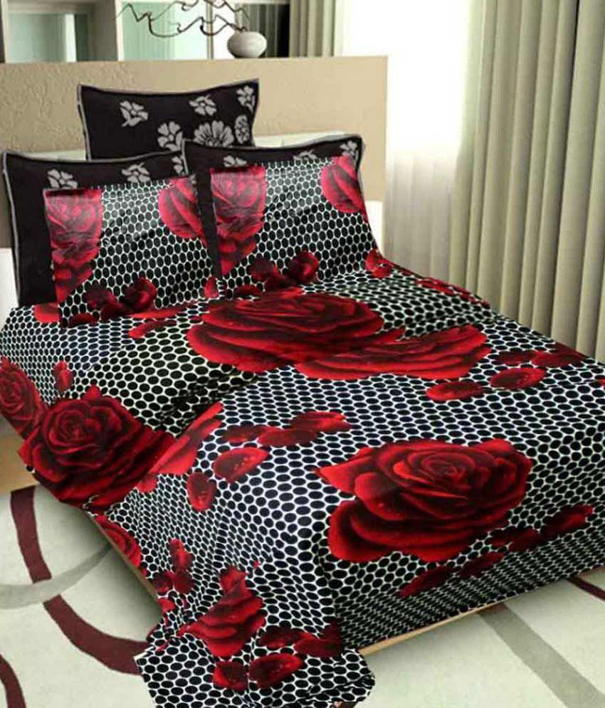 Beds Shopping Online: Aishvi Multicolour Cotton Double Bedsheet With 2 Pillow