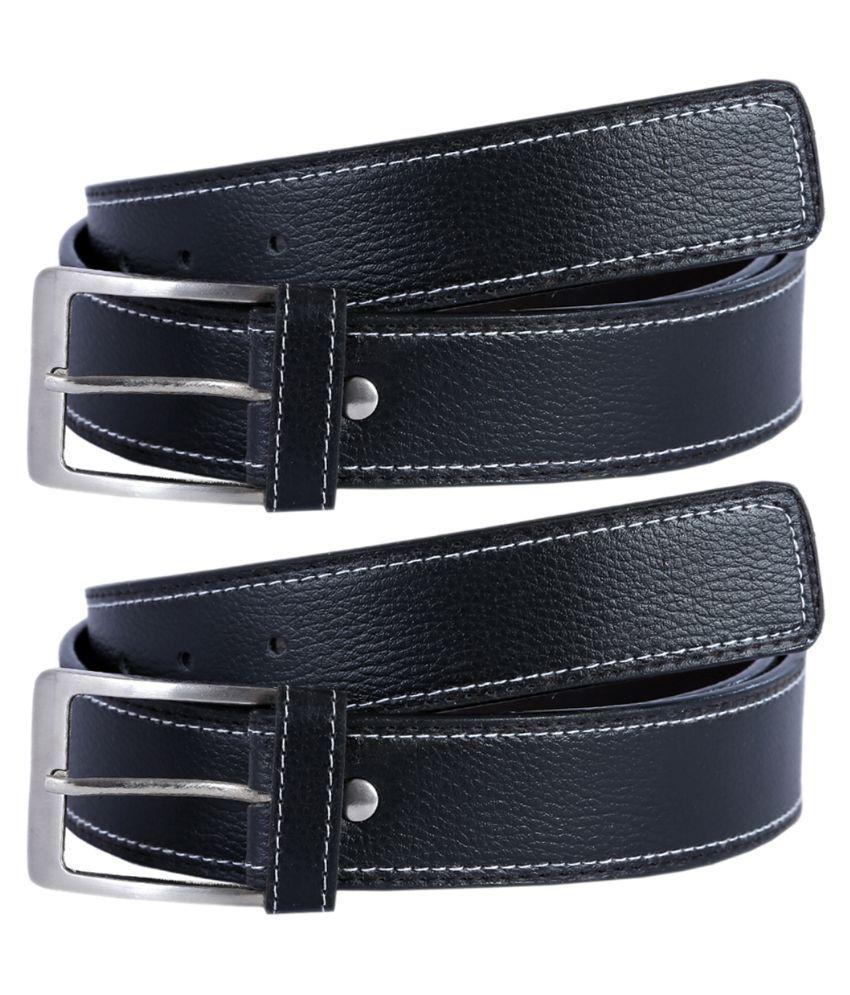 Hardy's Collection Black Belt for Men - Pack of 2