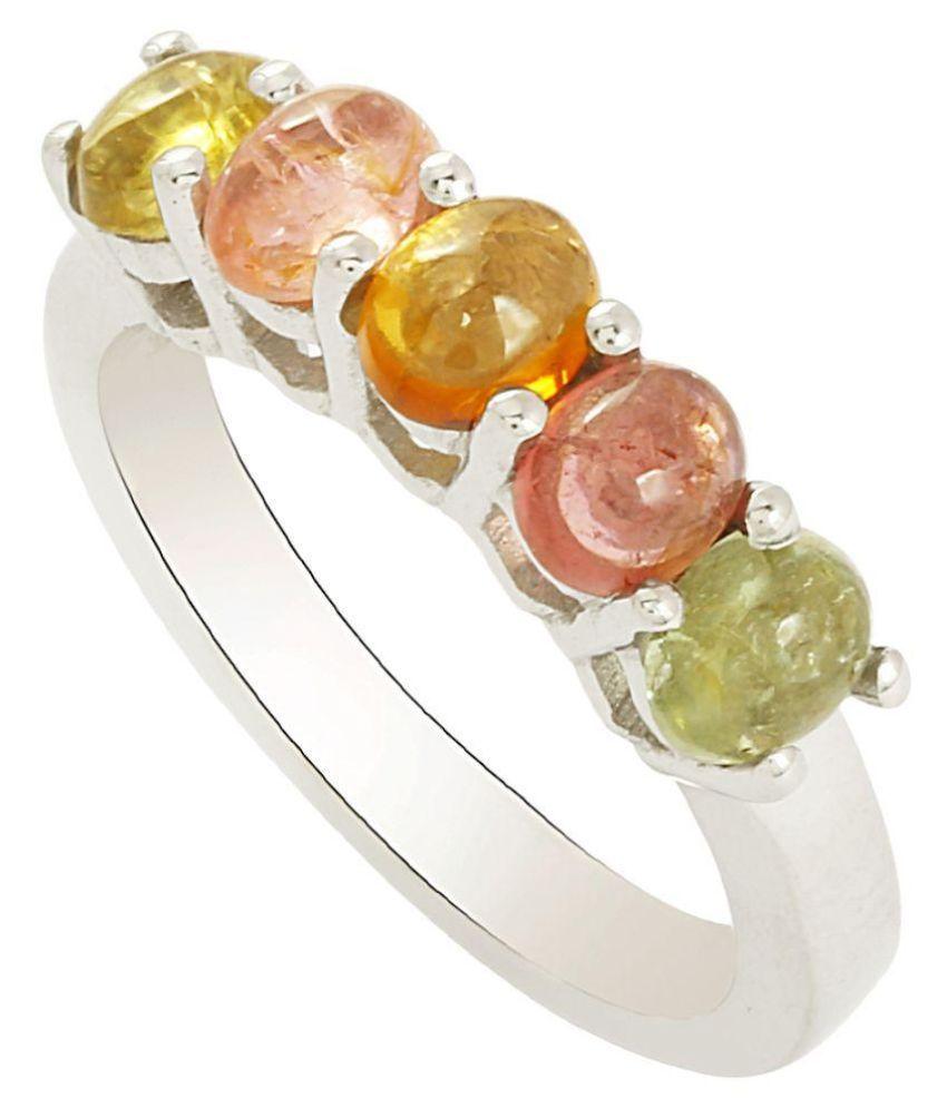 Shine Jewel 92.5 Multi Color Tourmaline Silver Ring