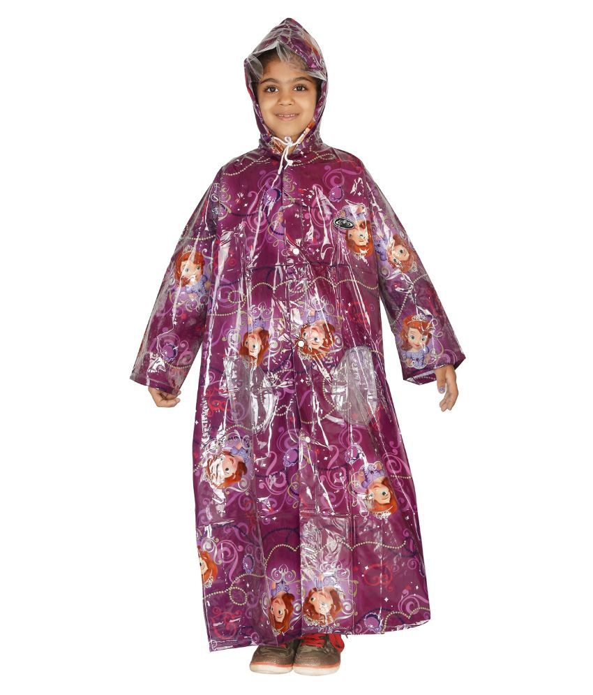 Zeel Purple Viscose Raincoat for Girls