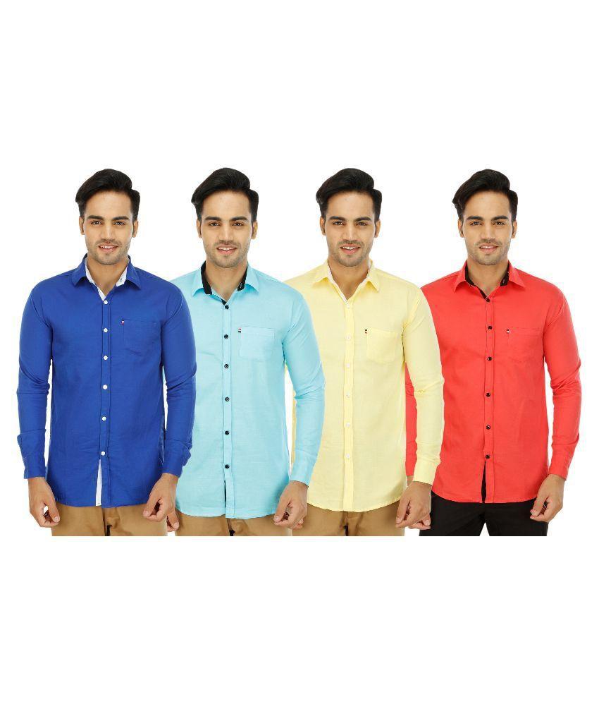 Blue Ocean Multi Casuals Slim Fit Shirt Pack of 4