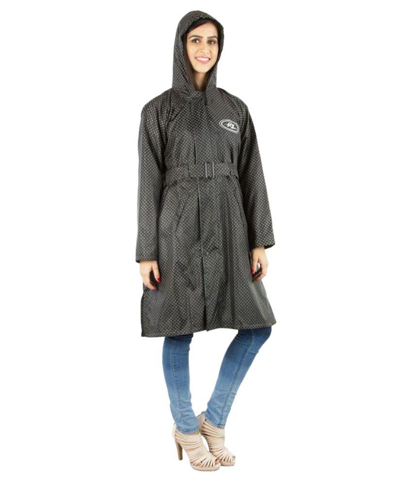 Burdy Black Waterproof Long Raincoat