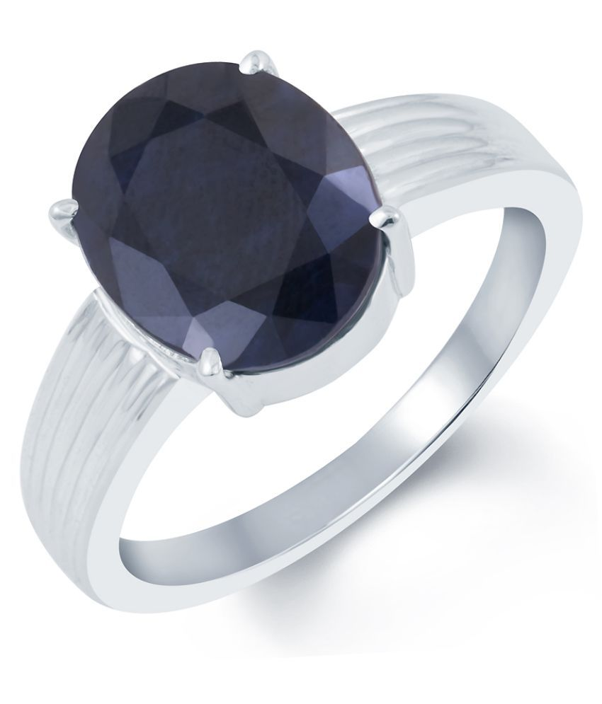 G-Luck 92.5 Sterling Silver Sapphire Ring