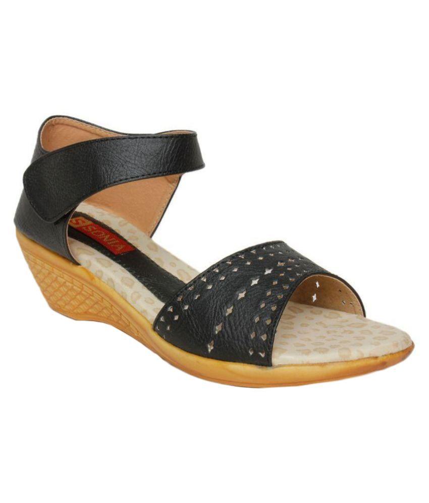 Bharat Shoe Store Black Wedges Heels