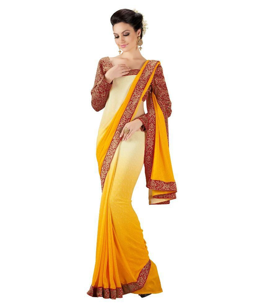 Blissta Yellow & Off White Georgette Printed Saree