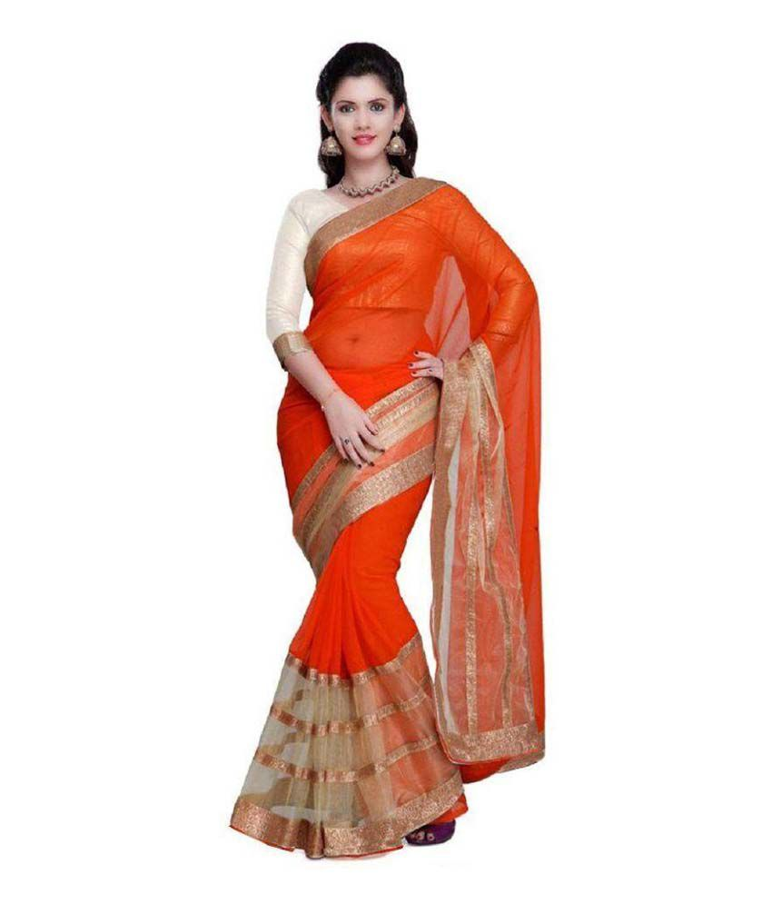 Keshav Silk Mills Orange Chiffon Saree