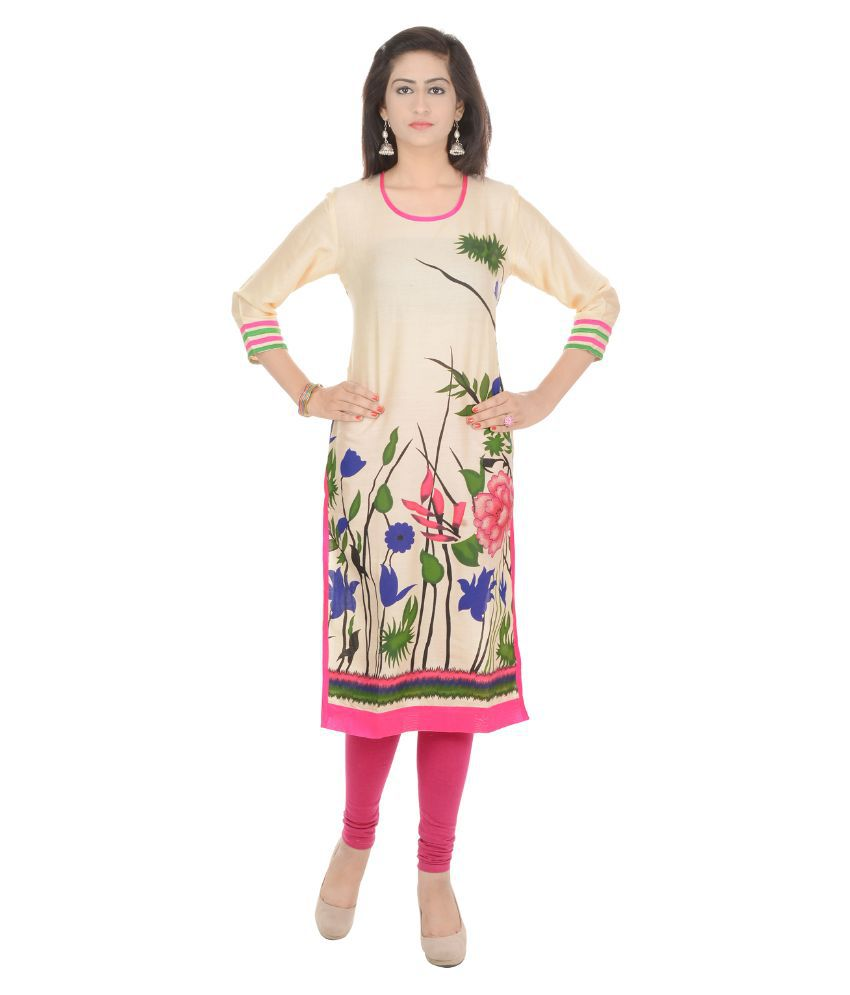 Cotthub Cream Rayon Straight Kurti