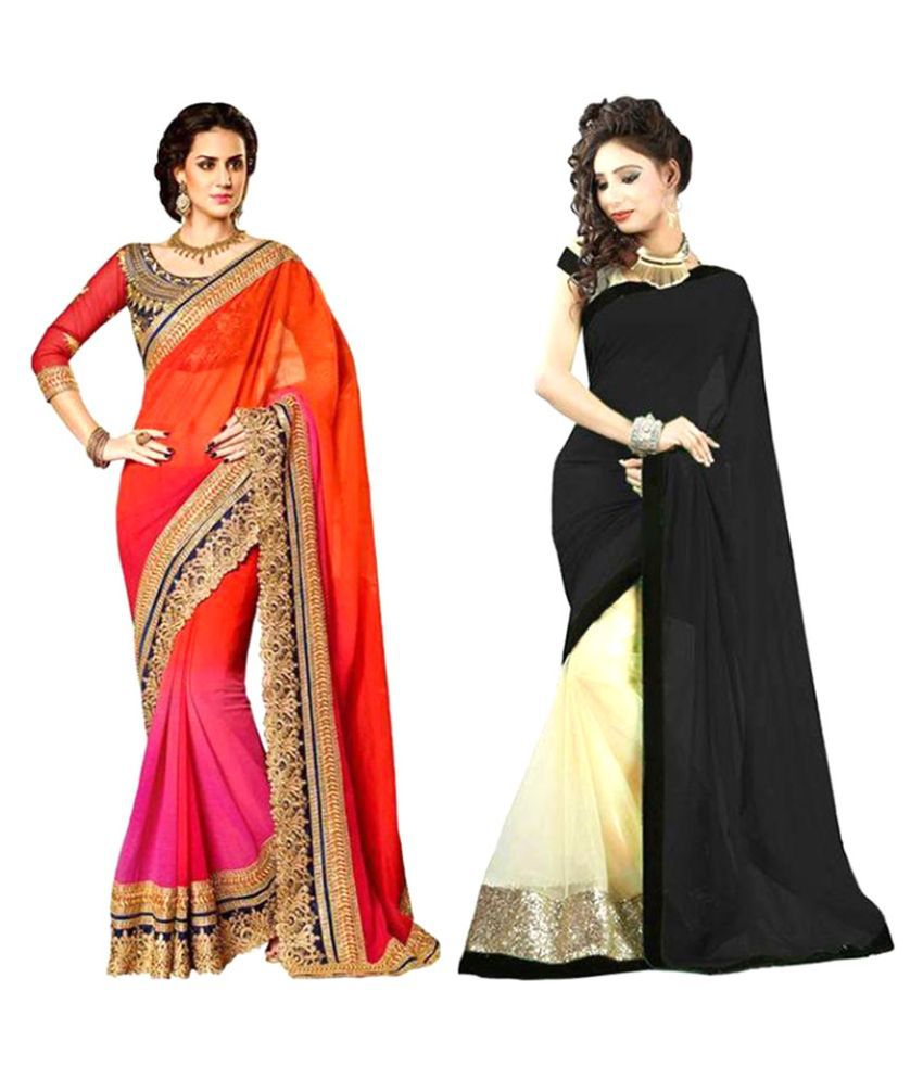 VF Designer Multicoloured Georgette Saree Combos