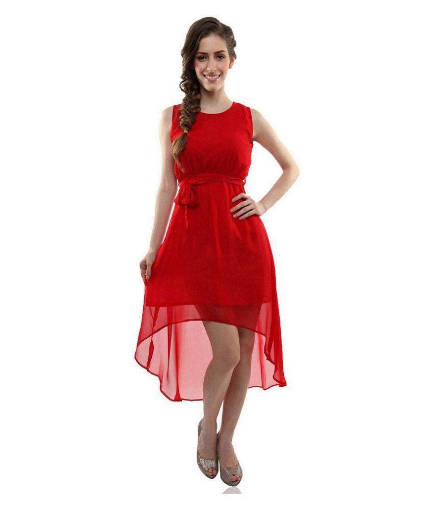 Shreeji Fashion Red Georgette Dresses