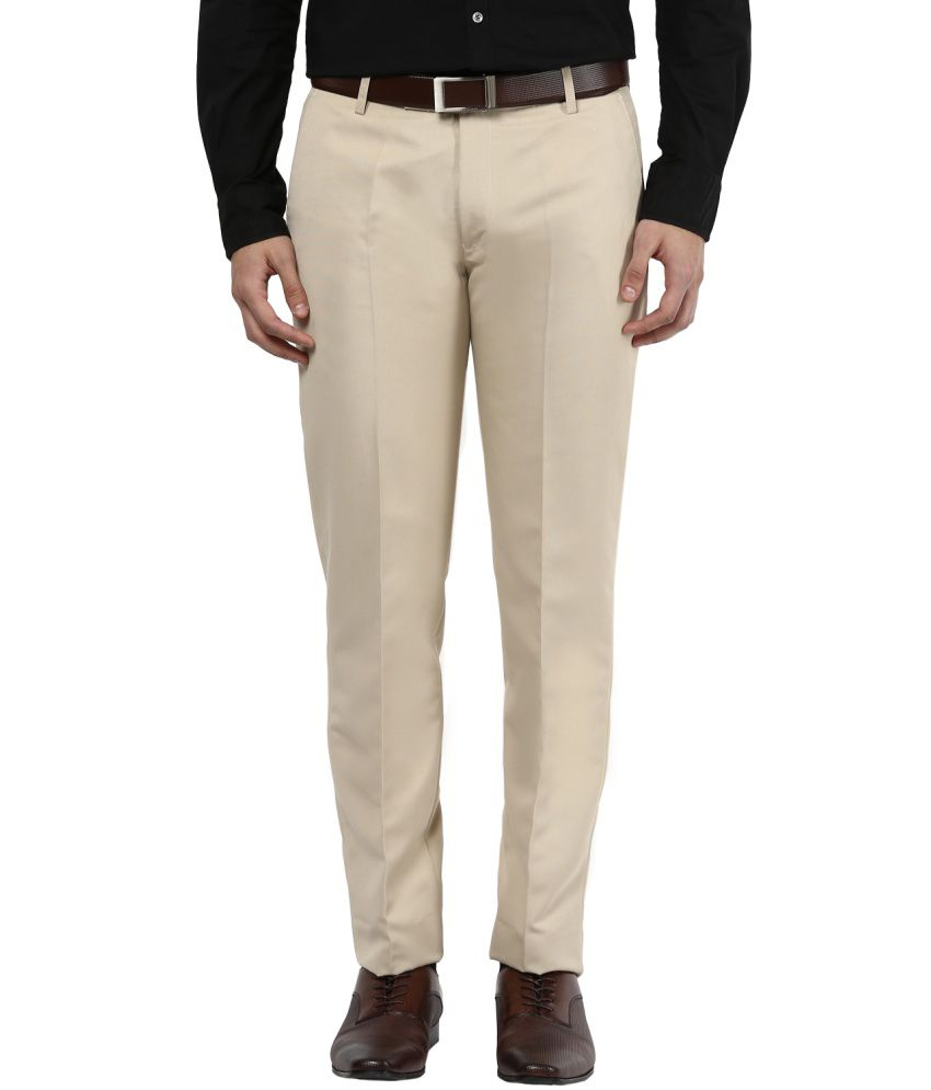 Bukkl Cream Slim Fit Flat Trousers