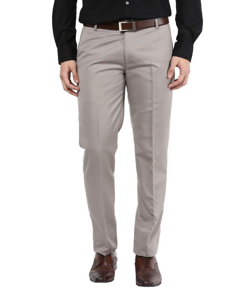 BUKKL Grey Slim Fit Flat Trousers