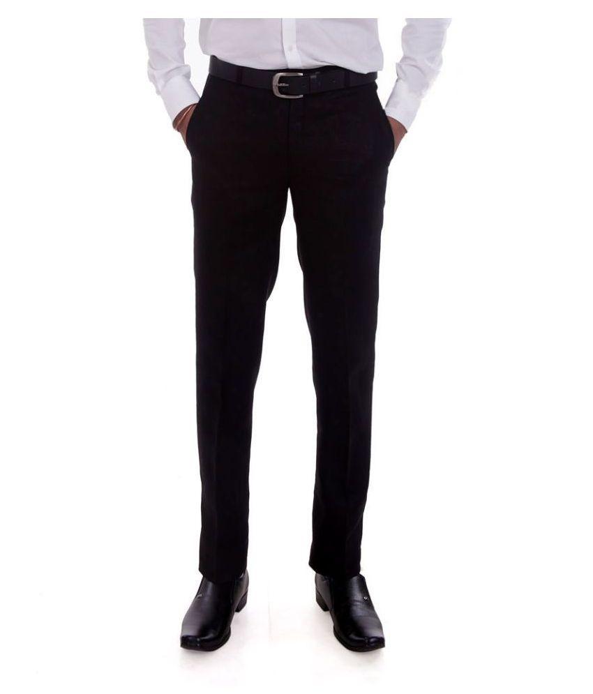 Granite Black Regular Fit Flat Trousers