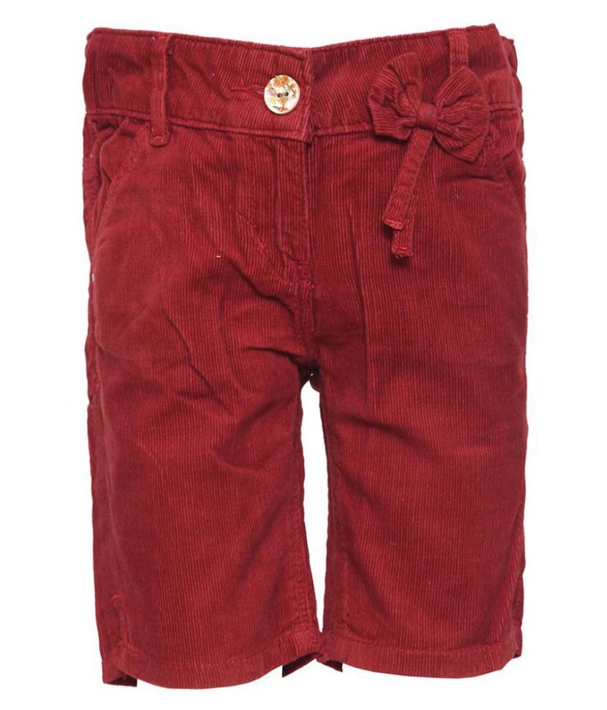 Tales & Stories Maroon Corduroy Short