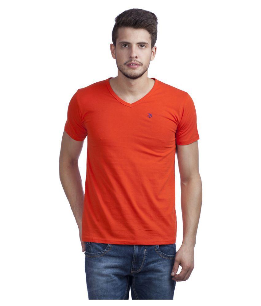 Trendy Bandey Orange V-Neck T Shirt