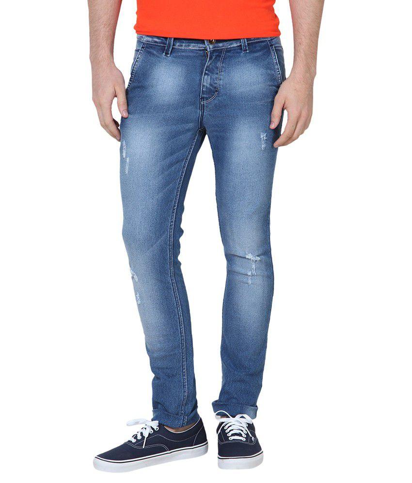 SuperX Blue Skinny Fit Solid Jeans