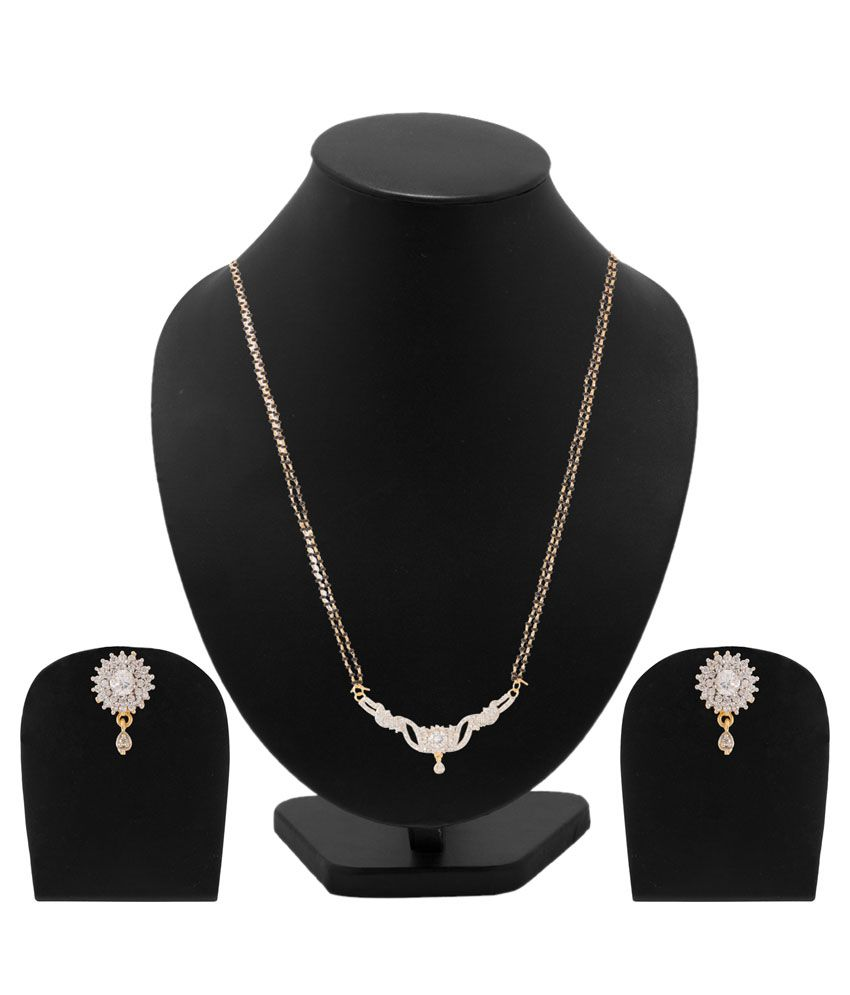 Voylla Alloy Gold Plating Cubiz Zirconia Studded Gold Coloured Mangalsutra Set