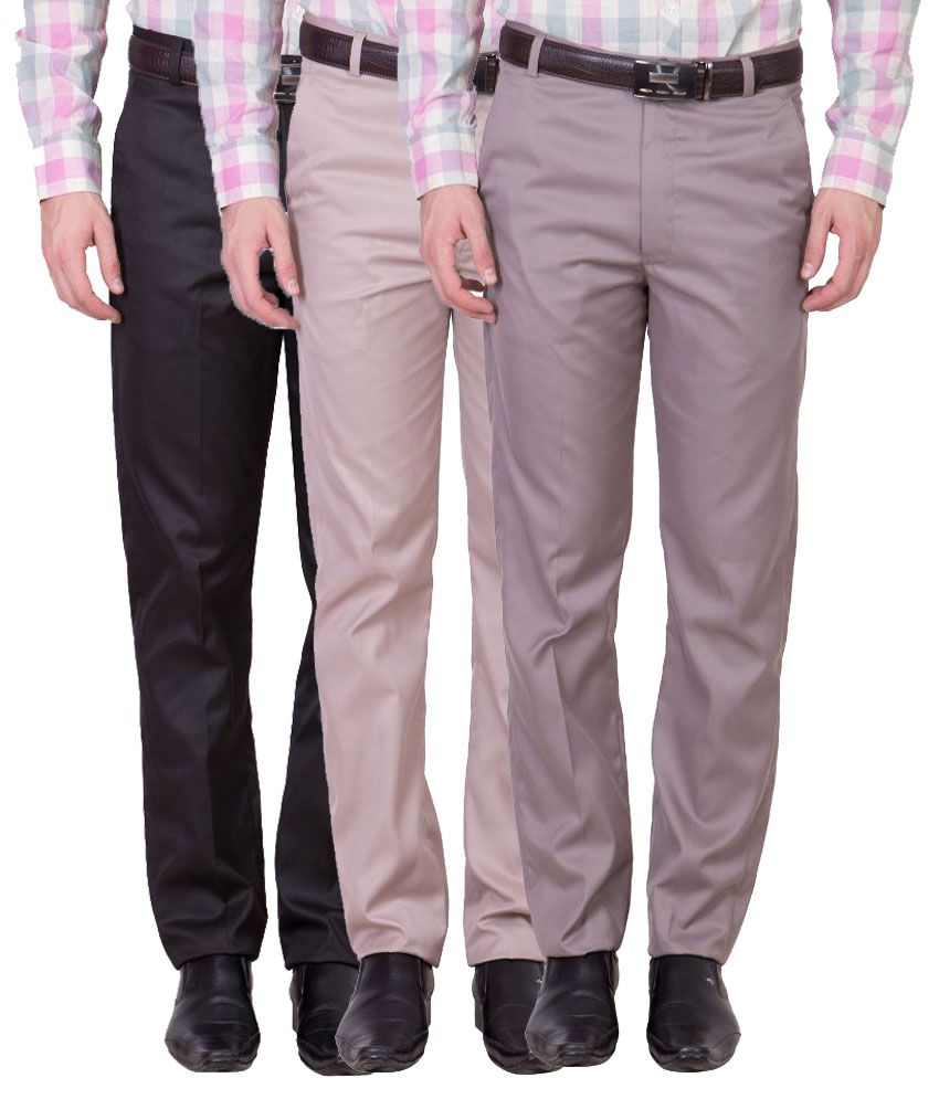 Cliths Multi Slim Fit Flat Trousers Pack of 3