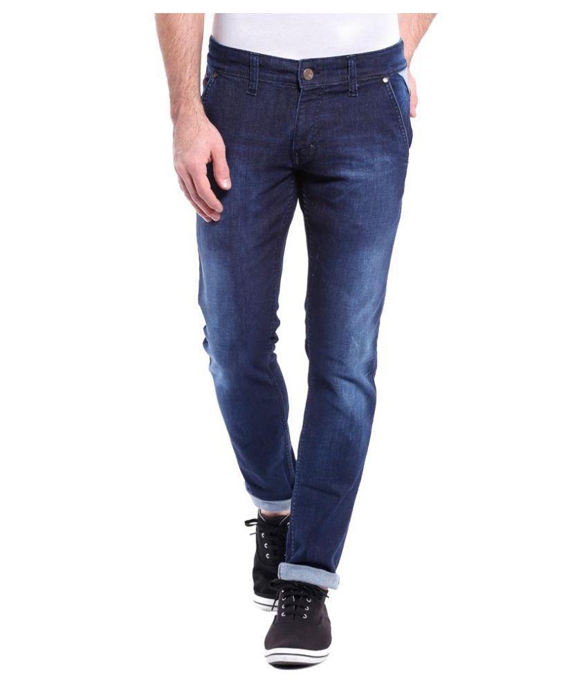 Urbano Fashion Blue Slim Fit Faded Jeans