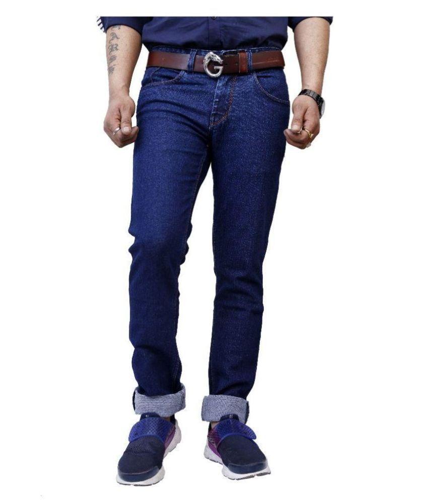 Superx Blue Slim Fit Solid Jeans