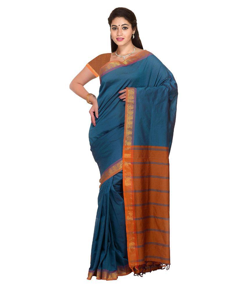 Anusha Blue Cotton Saree