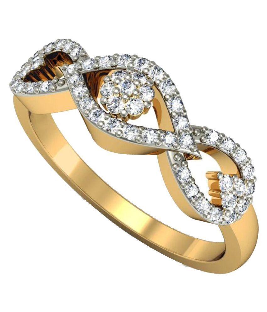 Rasav Jewels 14kt Gold BIS Hallmarked Diamond Studded Ring