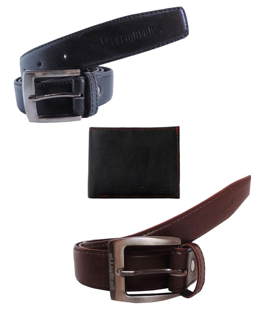 Elligator Multicolour Casual Belt for Men - Pack of 2 with Wallet
