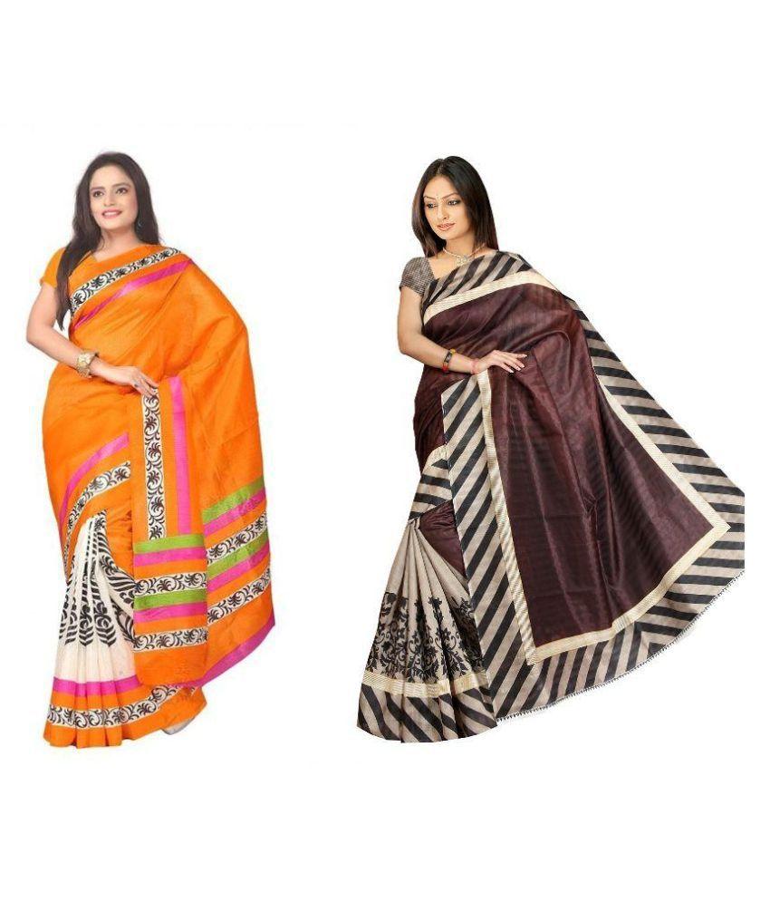 Muta Fashions Multicoloured Crepe Saree Combos