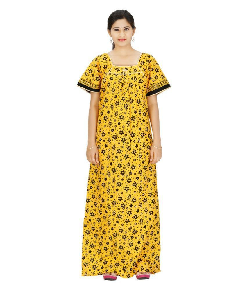 0b403f6b98 Buy Maa Collection Yellow Cotton Nighty   Night Gowns Online at Best Prices in  India - Snapdeal