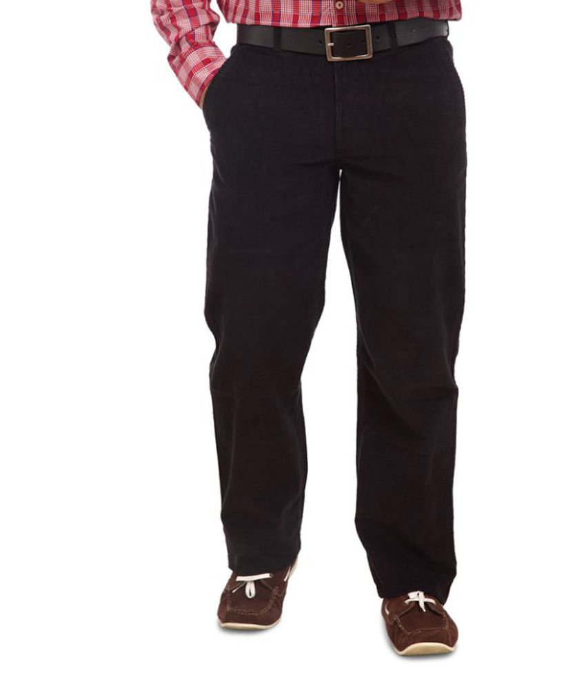 Colorplus Black Regular Fit Flat Trousers