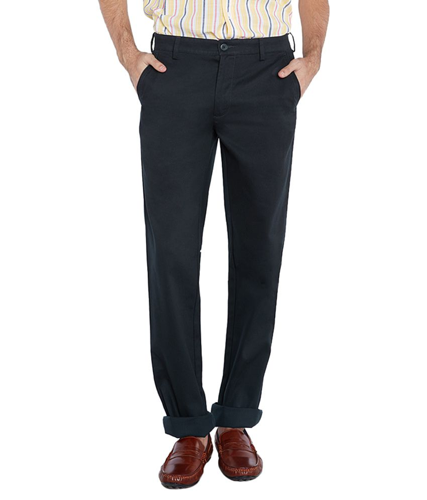 Colorplus Navy Slim Fit Flat Trousers