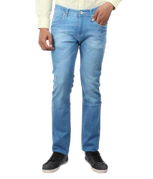 Oxemberg Blue Slim Fit Washed Jeans